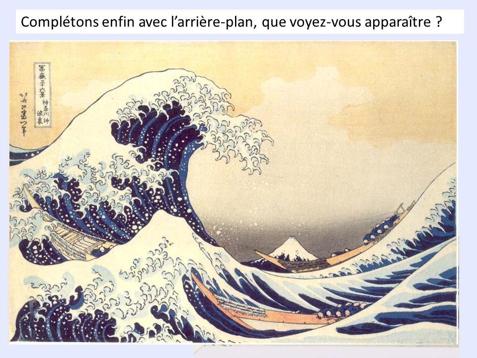 Voici quelques informations sur cette œuvre : Titre complet : Sous la vague au large de Kanagawa Autres titres souvent donnés : La grande vague ou La vague Nom de lartiste : Katsushika HOKUSAÏ Année de réalisation : 1831