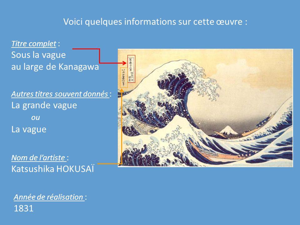 Voici quelques informations sur cette œuvre : Titre complet : Sous la vague au large de Kanagawa Autres titres souvent donnés : La grande vague ou La