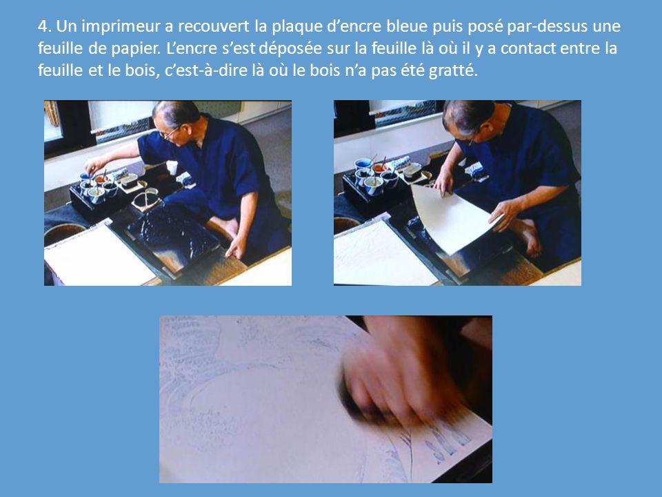 4. Un imprimeur a recouvert la plaque dencre bleue puis posé par-dessus une feuille de papier. Lencre sest déposée sur la feuille là où il y a contact