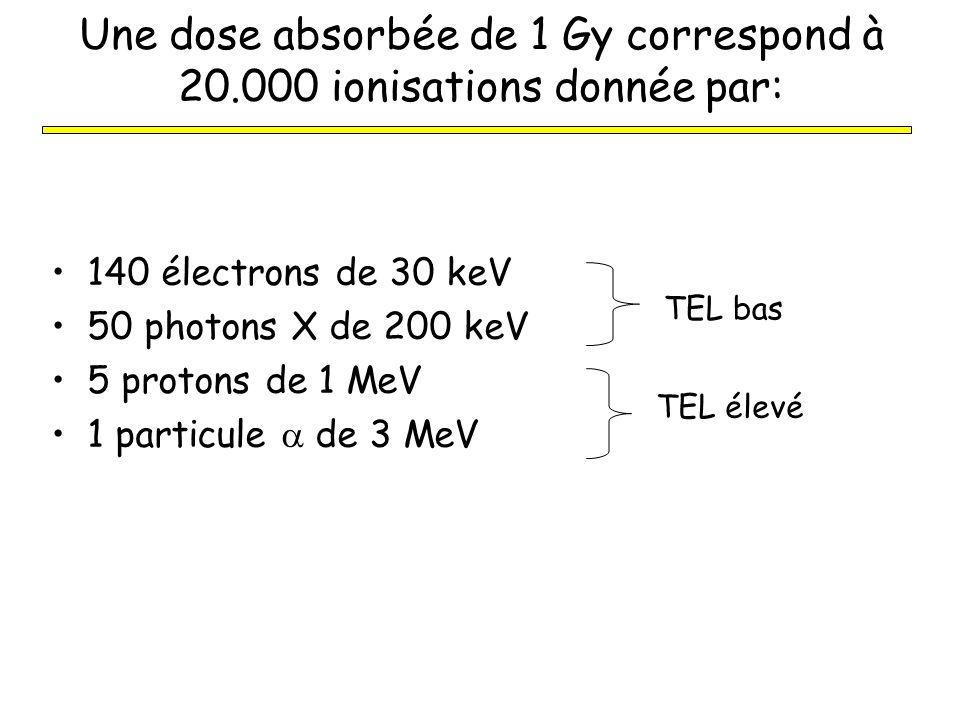 Dose équivalente (H) Afin de traduire la nuisance biologique des rayonnements aux faibles doses, on a créé H = D x w R w R : facteur de pondération radiologique w R = 1 pour, X, w R = 20 pour w R = 10 (moyenne pour neutrons) 1 kg de plomb1 kg de plume avant après Unité: le Sievert (Sv) (mSv) Ancienne unité: le rem1Sv = 100 rem Une dose équivalente de 1 Sv représente une dose absorbée de: 1 Gy pour, X, 0.05 Gy pour 0.1 Gy pour n° Même signification en terme de risque pour santé