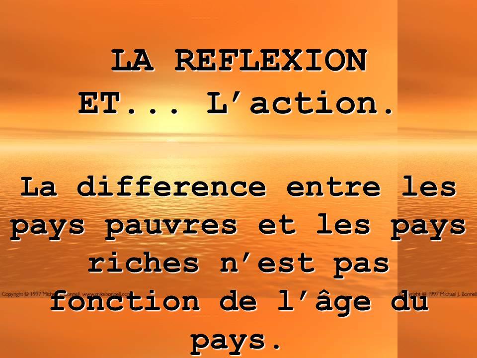 LA REFLEXION ET... Laction. La difference entre les pays pauvres et les pays riches nest pas fonction de lâge du pays.