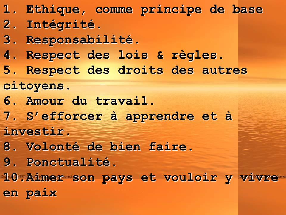 1. Ethique, comme principe de base 2. Intégrité. 3. Responsabilité. 4. Respect des lois & règles. 5. Respect des droits des autres citoyens. 6. Amour