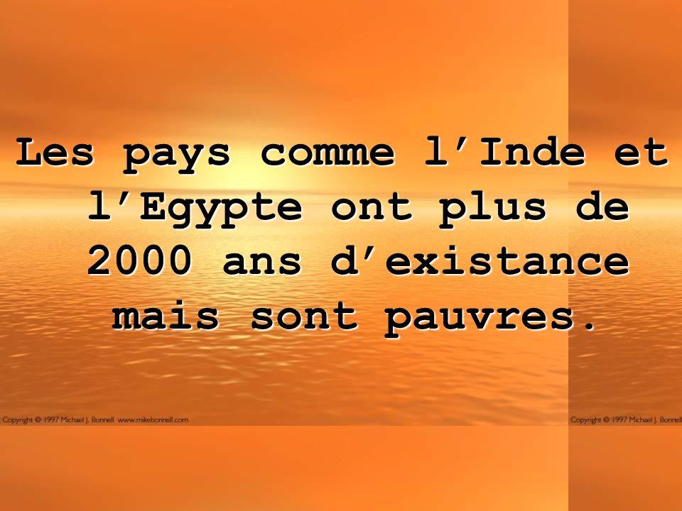Les pays comme lInde et lEgypte ont plus de 2000 ans dexistance mais sont pauvres.