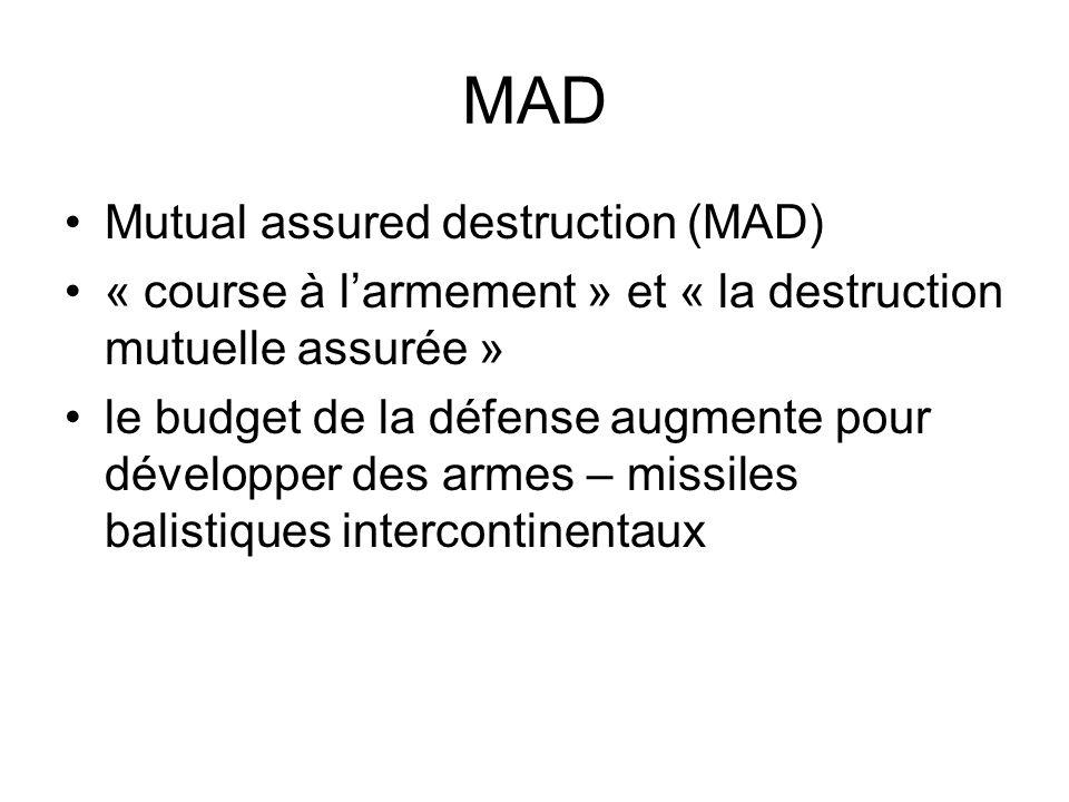 MAD Mutual assured destruction (MAD) « course à larmement » et « la destruction mutuelle assurée » le budget de la défense augmente pour développer des armes – missiles balistiques intercontinentaux