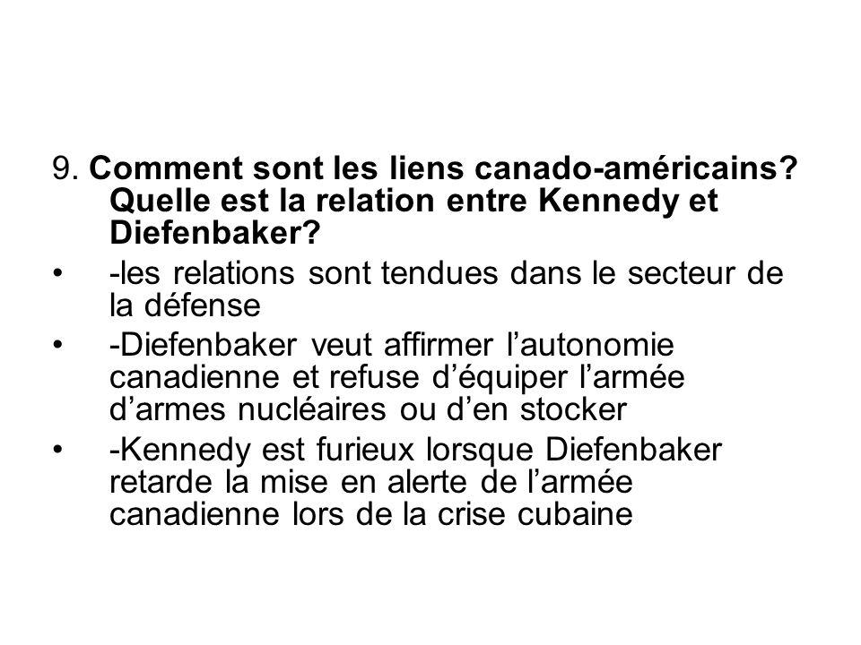 9. Comment sont les liens canado-américains. Quelle est la relation entre Kennedy et Diefenbaker.