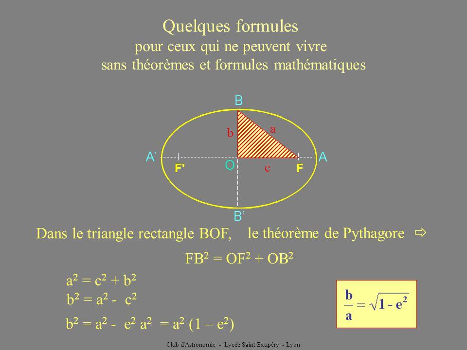 Club d'Astronomie - Lycée Saint Exupéry - Lyon Quelques formules pour ceux qui ne peuvent vivre sans théorèmes et formules mathématiques A A B B O F'F