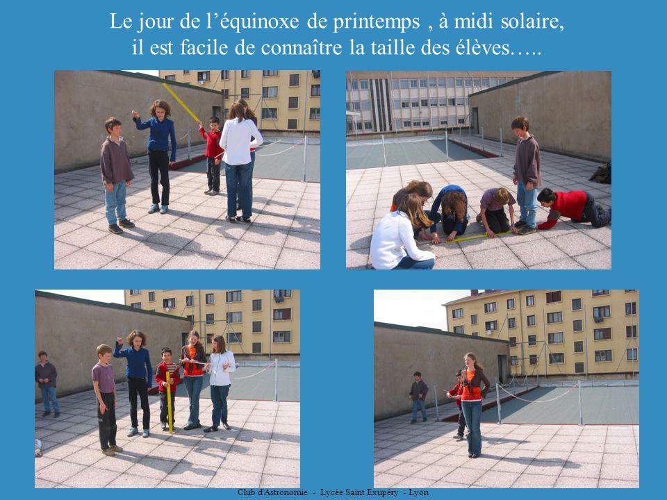 Club d'Astronomie - Lycée Saint Exupéry - Lyon Le jour de léquinoxe de printemps, à midi solaire, il est facile de connaître la taille des élèves…..