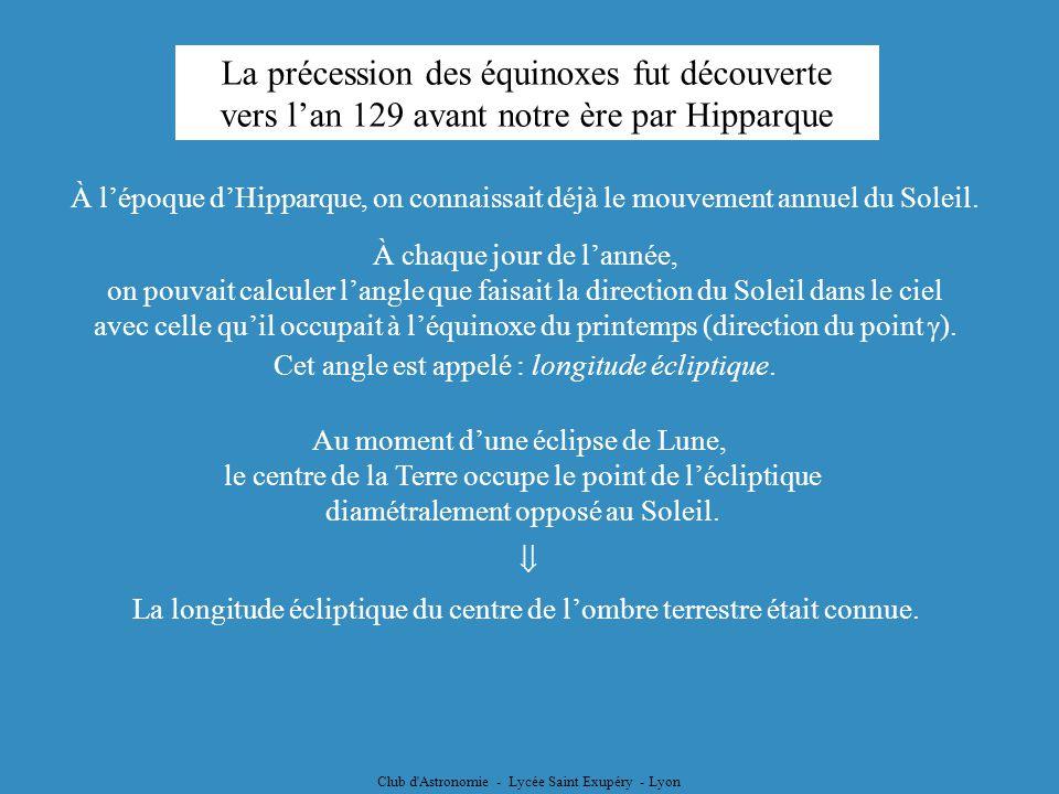 Club d'Astronomie - Lycée Saint Exupéry - Lyon Ce mouvement sest poursuivi ; le noeud descendant de lécliptique est passé à proximité de lEpi au IIIèm