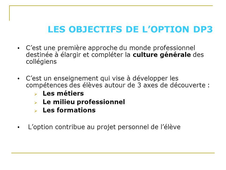 LES OBJECTIFS DE LOPTION DP3 Cest une première approche du monde professionnel destinée à élargir et compléter la culture générale des collégiens Cest