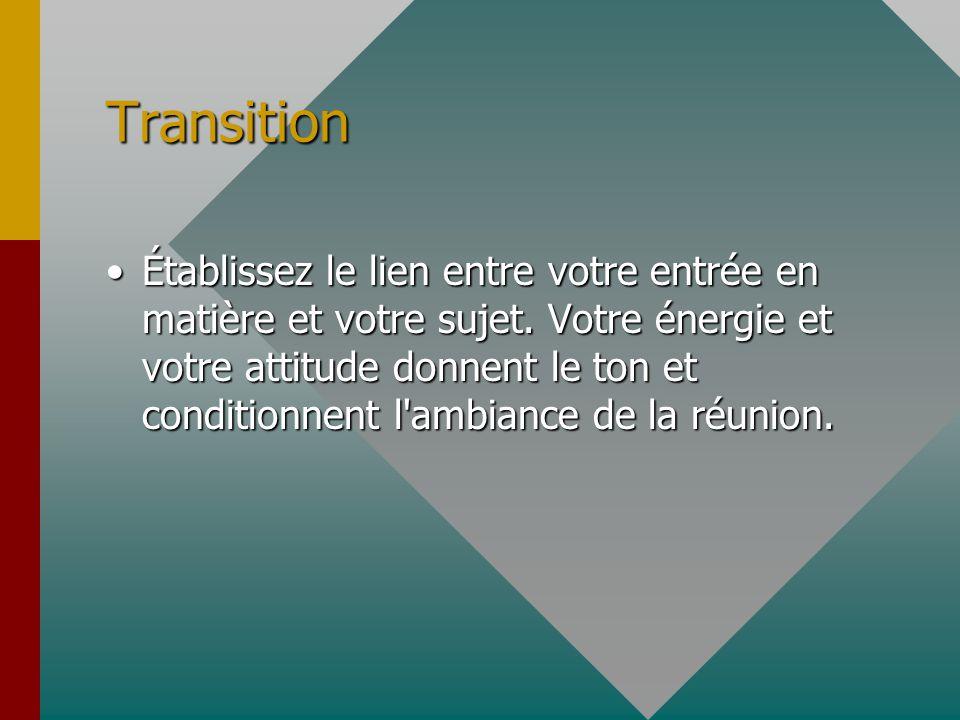 Transition Établissez le lien entre votre entrée en matière et votre sujet.