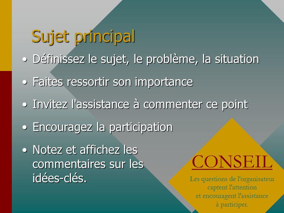 Objectifs et Problèmes Définissez les objectifsDéfinissez les objectifs Définissez les problèmesDéfinissez les problèmes Encouragez les participants à rester sur les points essentiels et établissez les priorités.Encouragez les participants à rester sur les points essentiels et établissez les priorités.
