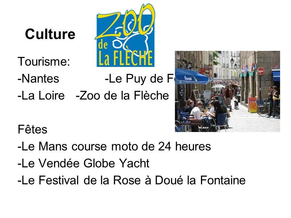 Culture Tourisme: -Nantes-Le Puy de Fou -La Loire-Zoo de la Flèche Fêtes -Le Mans course moto de 24 heures -Le Vendée Globe Yacht -Le Festival de la R
