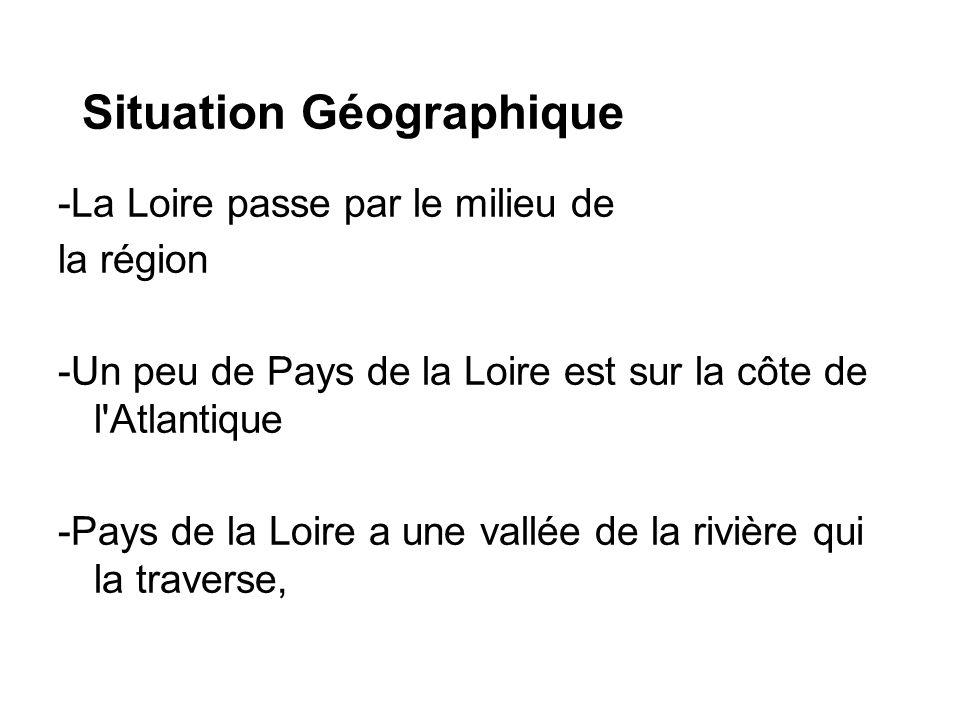 Situation Géographique -La Loire passe par le milieu de la région -Un peu de Pays de la Loire est sur la côte de l'Atlantique -Pays de la Loire a une