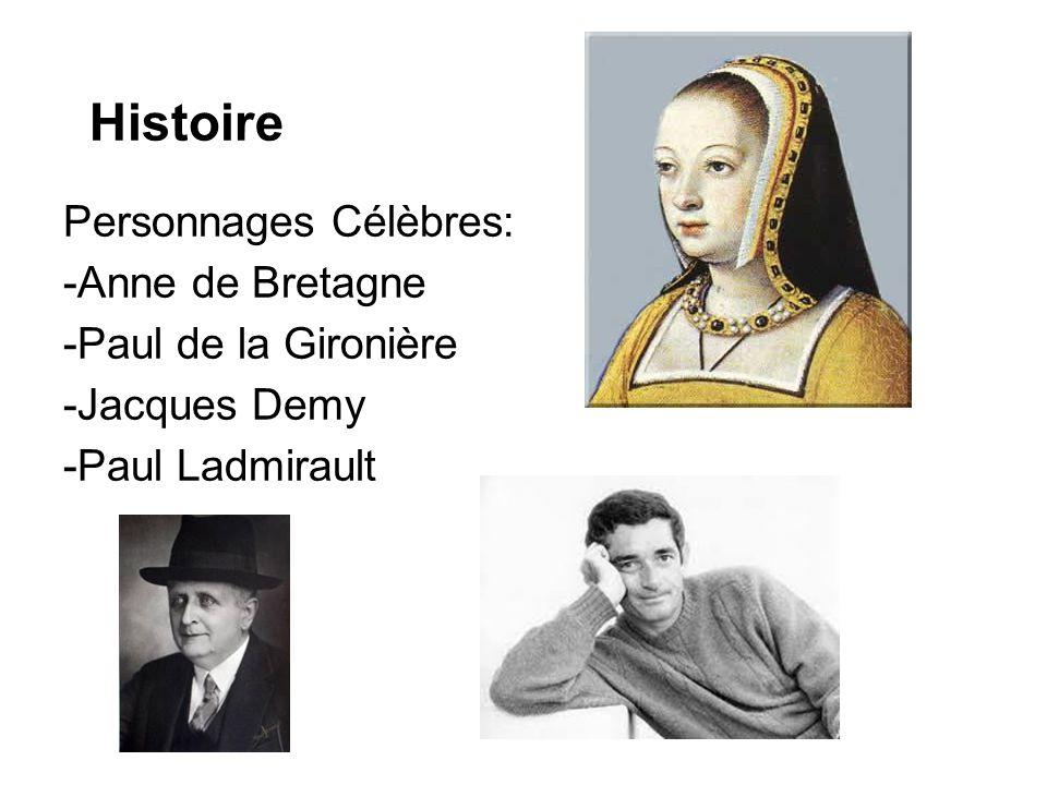 Histoire Personnages Célèbres: -Anne de Bretagne -Paul de la Gironière -Jacques Demy -Paul Ladmirault
