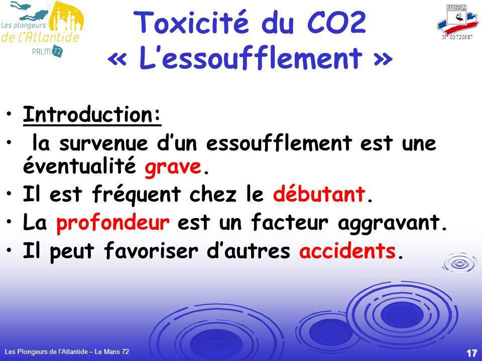 Les Plongeurs de lAtlantide – Le Mans 72 17 N° 03720387 Toxicité du CO2 « Lessoufflement » Introduction: la survenue dun essoufflement est une éventua