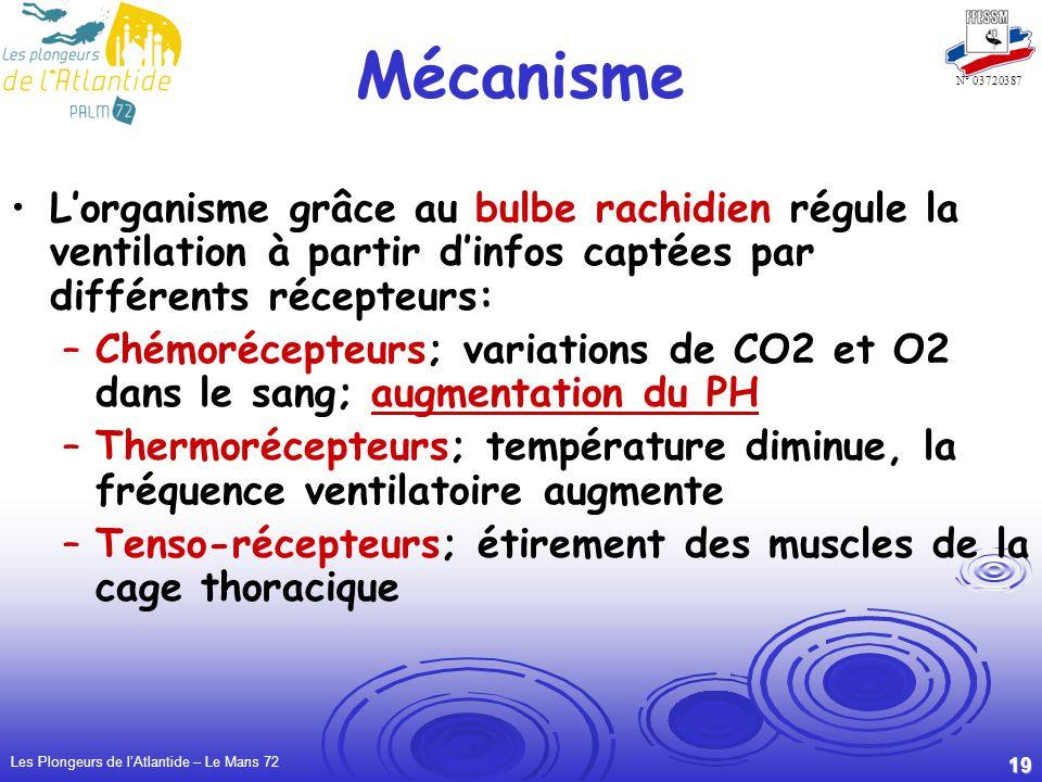 Les Plongeurs de lAtlantide – Le Mans 72 19 N° 03720387 Mécanisme Lorganisme grâce au bulbe rachidien régule la ventilation à partir dinfos captées par différents récepteurs: –Chémorécepteurs; variations de CO2 et O2 dans le sang; augmentation du PH –Thermorécepteurs; température diminue, la fréquence ventilatoire augmente –Tenso-récepteurs; étirement des muscles de la cage thoracique