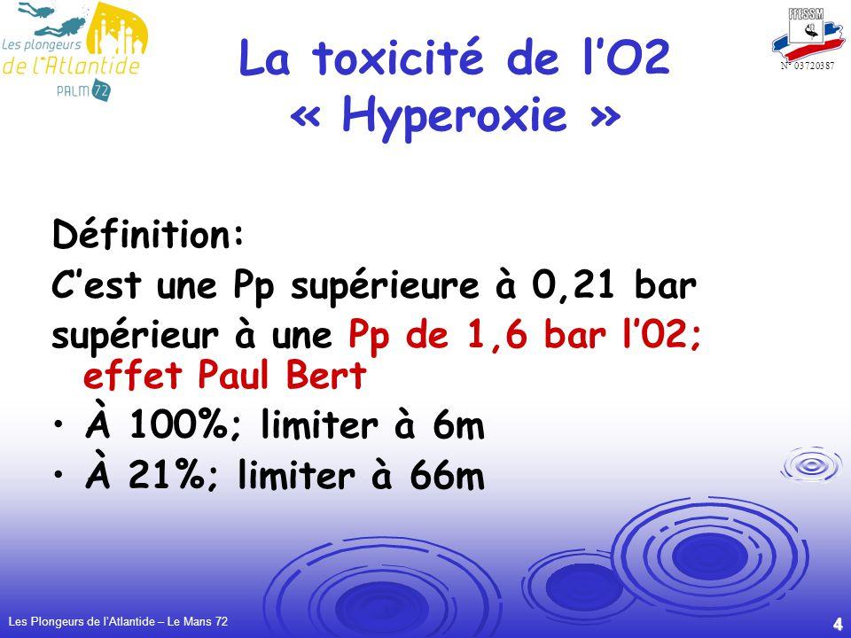 Les Plongeurs de lAtlantide – Le Mans 72 4 N° 03720387 La toxicité de lO2 « Hyperoxie » Définition: Cest une Pp supérieure à 0,21 bar supérieur à une Pp de 1,6 bar l02; effet Paul Bert À 100%; limiter à 6m À 21%; limiter à 66m