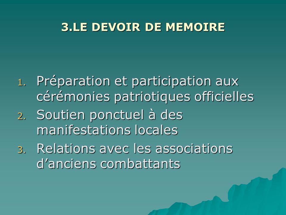 3.LE DEVOIR DE MEMOIRE 1.Préparation et participation aux cérémonies patriotiques officielles 2.