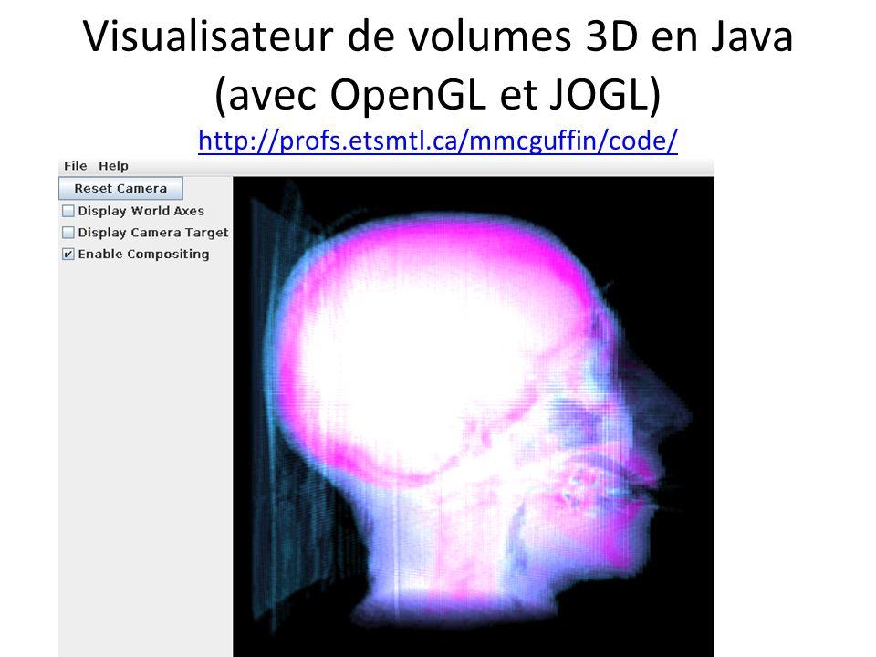 Visualisateur de volumes 3D en Java (avec OpenGL et JOGL) http://profs.etsmtl.ca/mmcguffin/code/ http://profs.etsmtl.ca/mmcguffin/code/