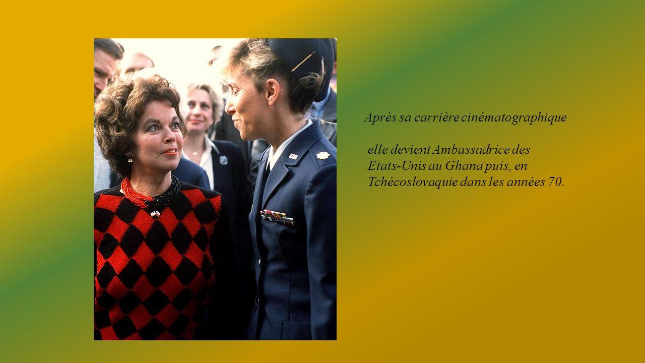 Après sa carrière cinématographique elle devient Ambassadrice des Etats-Unis au Ghana puis, en Tchécoslovaquie dans les années 70.