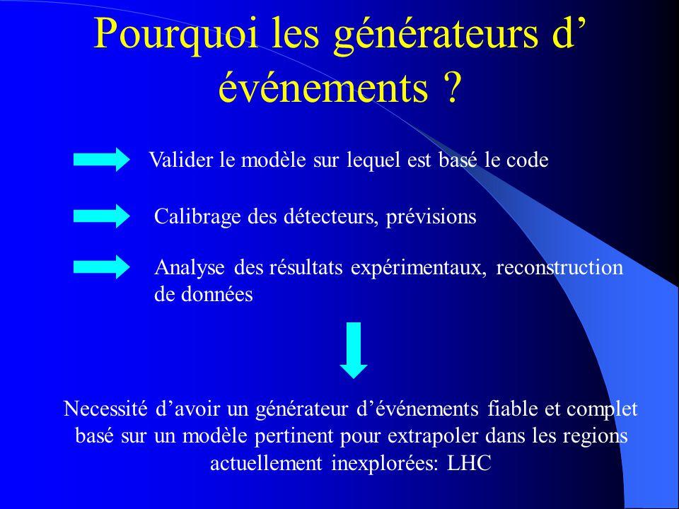 Pourquoi les générateurs d événements ? Necessité davoir un générateur dévénements fiable et complet basé sur un modèle pertinent pour extrapoler dans