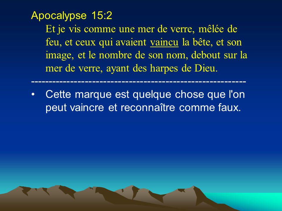Apocalypse 15:2 Et je vis comme une mer de verre, mêlée de feu, et ceux qui avaient vaincu la bête, et son image, et le nombre de son nom, debout sur
