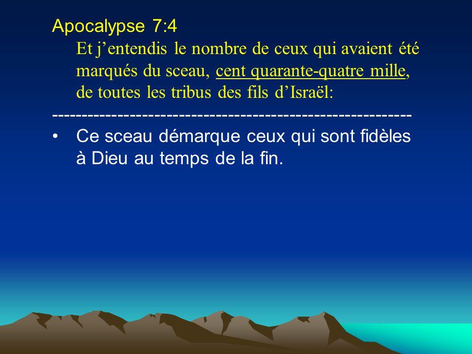 Apocalypse 7:4 Et jentendis le nombre de ceux qui avaient été marqués du sceau, cent quarante-quatre mille, de toutes les tribus des fils dIsraël: ---