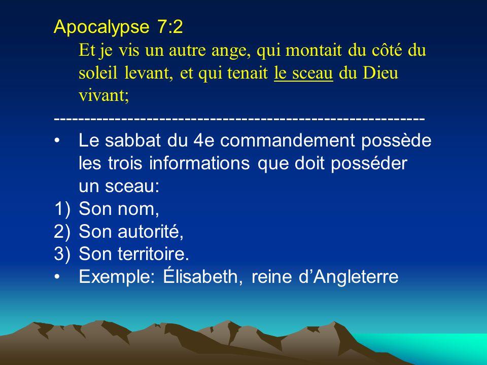 Apocalypse 7:2 Et je vis un autre ange, qui montait du côté du soleil levant, et qui tenait le sceau du Dieu vivant; ---------------------------------