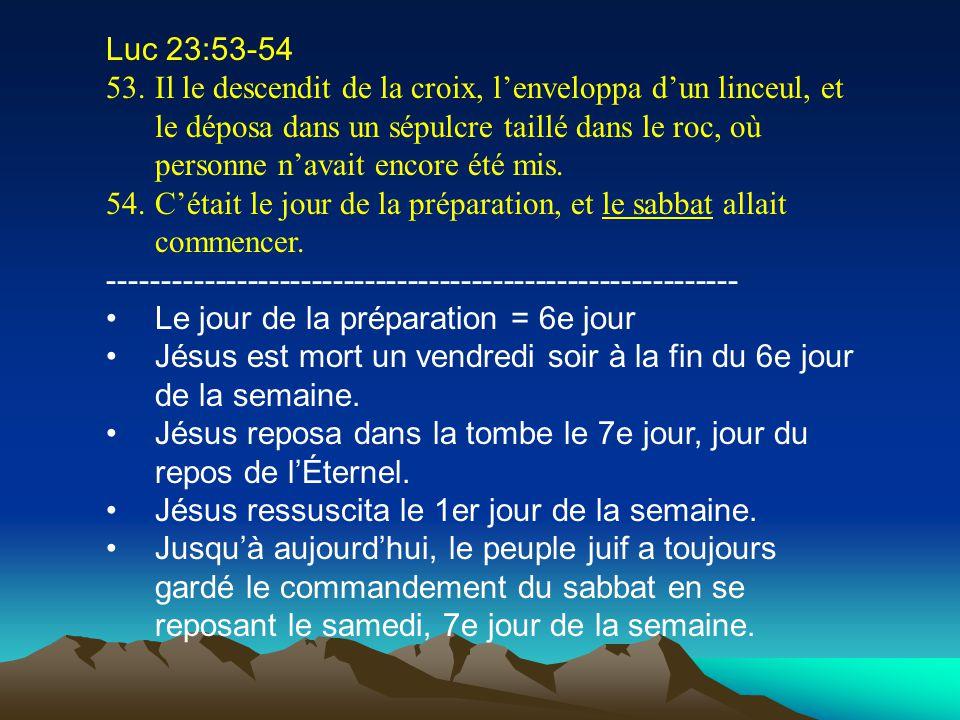 Luc 23:53-54 53.Il le descendit de la croix, lenveloppa dun linceul, et le déposa dans un sépulcre taillé dans le roc, où personne navait encore été m