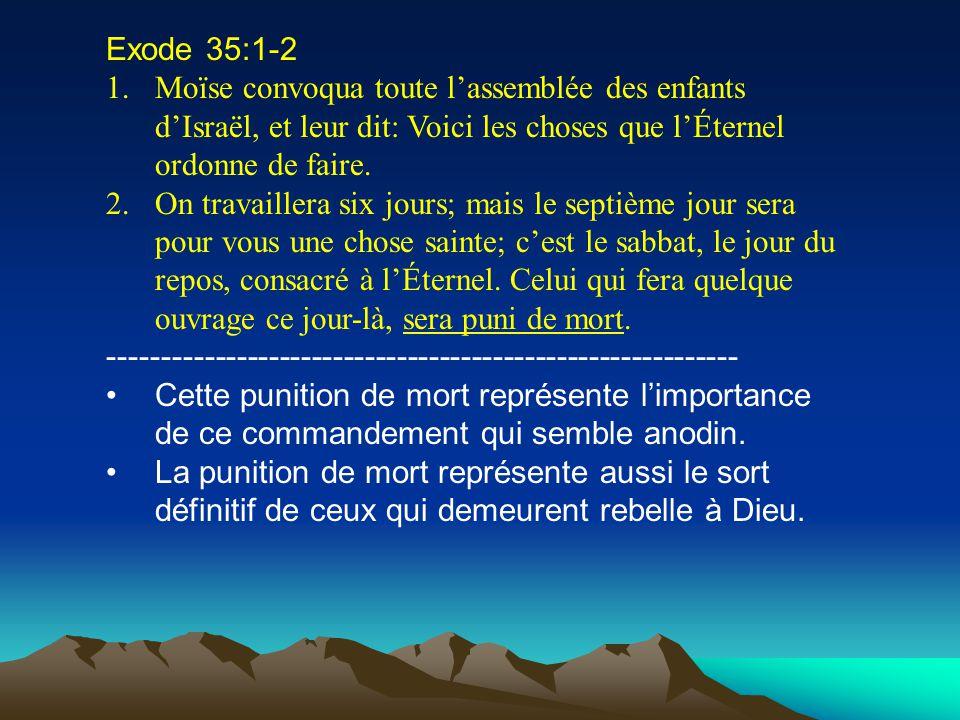 Exode 35:1-2 1.Moïse convoqua toute lassemblée des enfants dIsraël, et leur dit: Voici les choses que lÉternel ordonne de faire. 2.On travaillera six