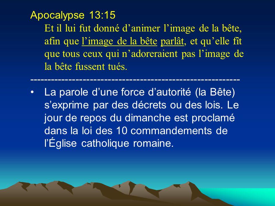 Apocalypse 13:16 Et elle fit que tous, petits et grands, riches et pauvres, libres et esclaves, reçussent une marque sur leur main droite ou sur leur front, ----------------------------------------------------------- Tous les chrétiens reçoivent cette marque du dimanche.