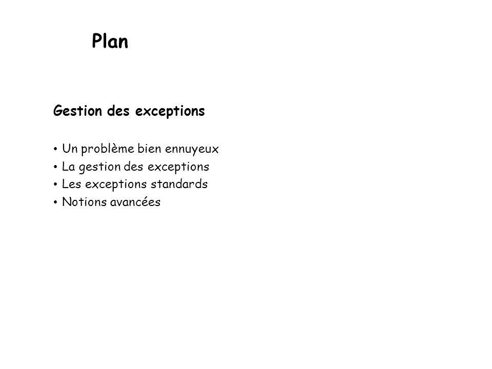 Plan Gestion des exceptions Un problème bien ennuyeux La gestion des exceptions Les exceptions standards Notions avancées