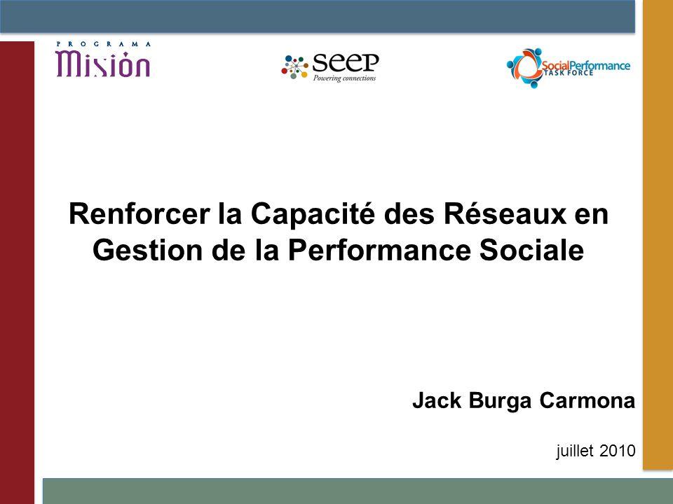 Jack Burga Carmona juillet 2010 Renforcer la Capacité des Réseaux en Gestion de la Performance Sociale