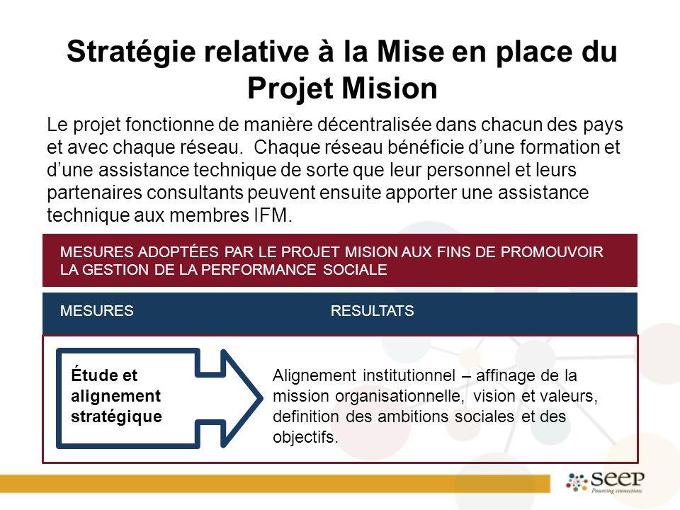 Stratégie relative à la Mise en place du Projet Mision Le projet fonctionne de manière décentralisée dans chacun des pays et avec chaque réseau. Chaqu