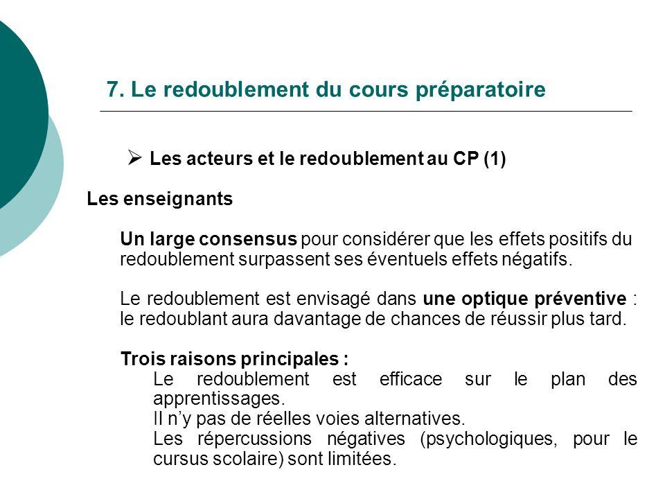 7. Le redoublement du cours préparatoire Les acteurs et le redoublement au CP (1) Les enseignants Un large consensus pour considérer que les effets po
