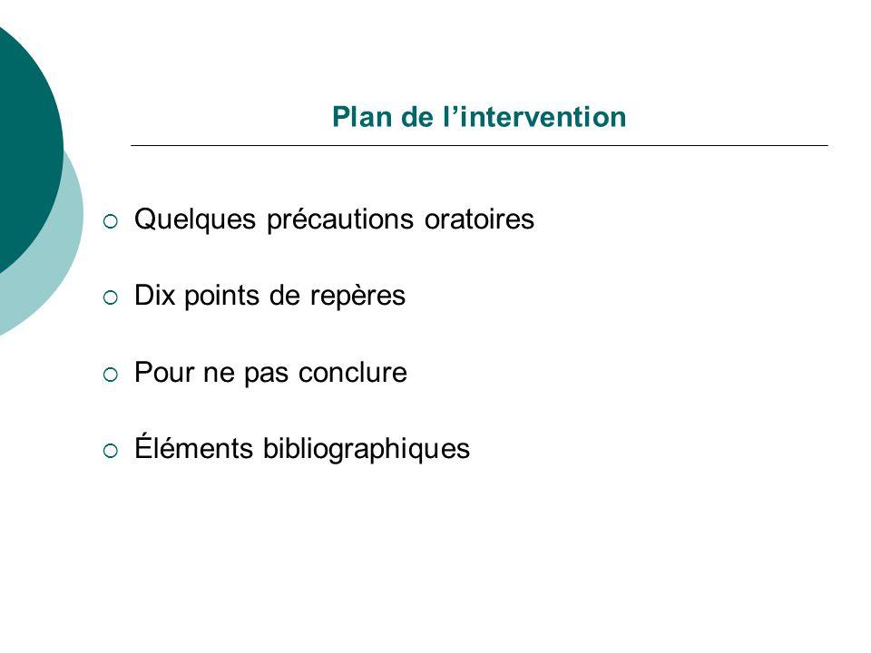 Plan de lintervention Quelques précautions oratoires Dix points de repères Pour ne pas conclure Éléments bibliographiques