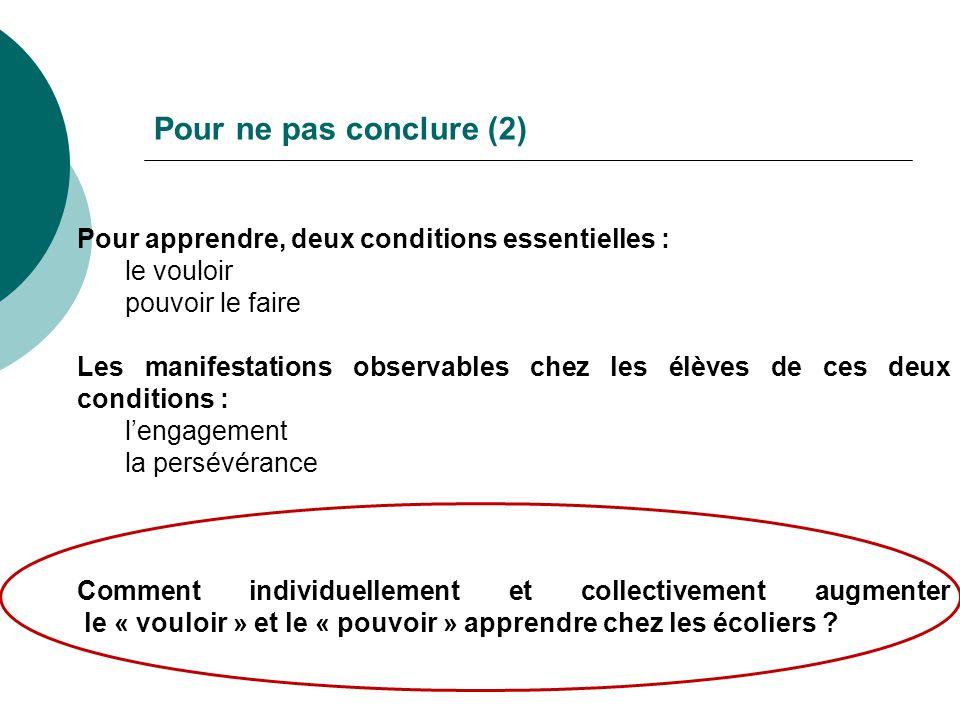 Pour ne pas conclure (2) Pour apprendre, deux conditions essentielles : le vouloir pouvoir le faire Les manifestations observables chez les élèves de