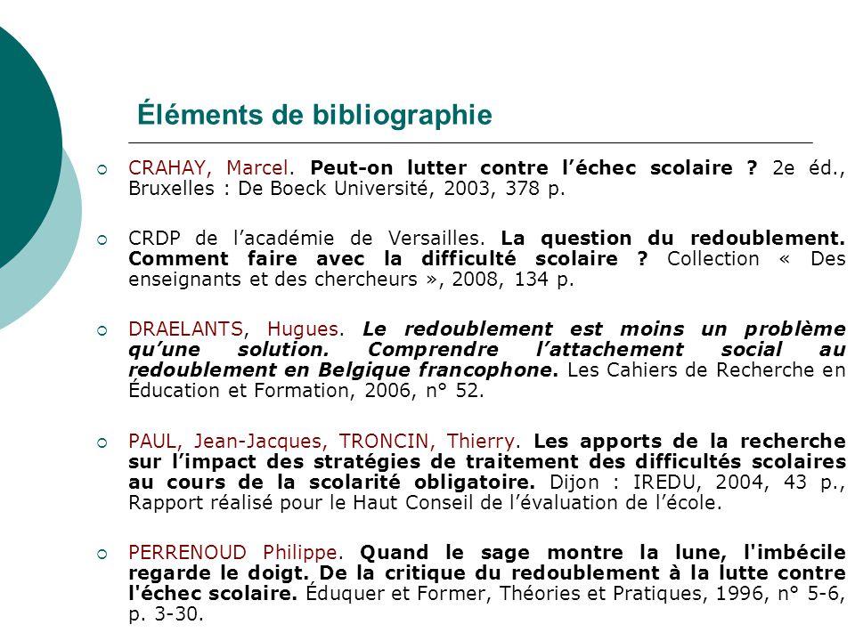 Éléments de bibliographie CRAHAY, Marcel. Peut-on lutter contre léchec scolaire ? 2e éd., Bruxelles : De Boeck Université, 2003, 378 p. CRDP de lacadé