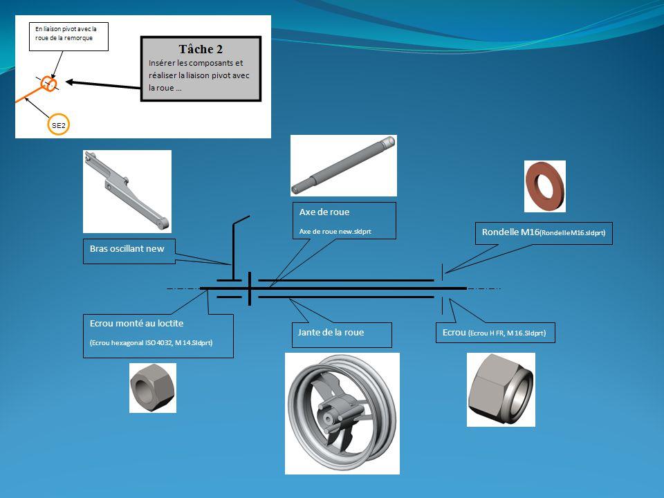 Jante de la roue Rondelle M16 (RondelleM16.sldprt) Bras oscillant new Ecrou monté au loctite (Ecrou hexagonal ISO 4032, M 14.Sldprt) Ecrou (Ecrou H FR, M 16.Sldprt) Axe de roue Axe de roue new.sldprt