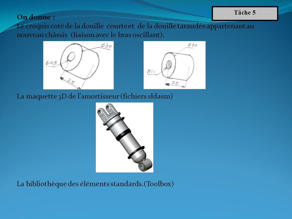 Démarche : Réaliser la liaison pivot Ey entre lamortisseur et les deux douilles (courte et taraudée) : - Créer la douille courte et la douille taraudée.