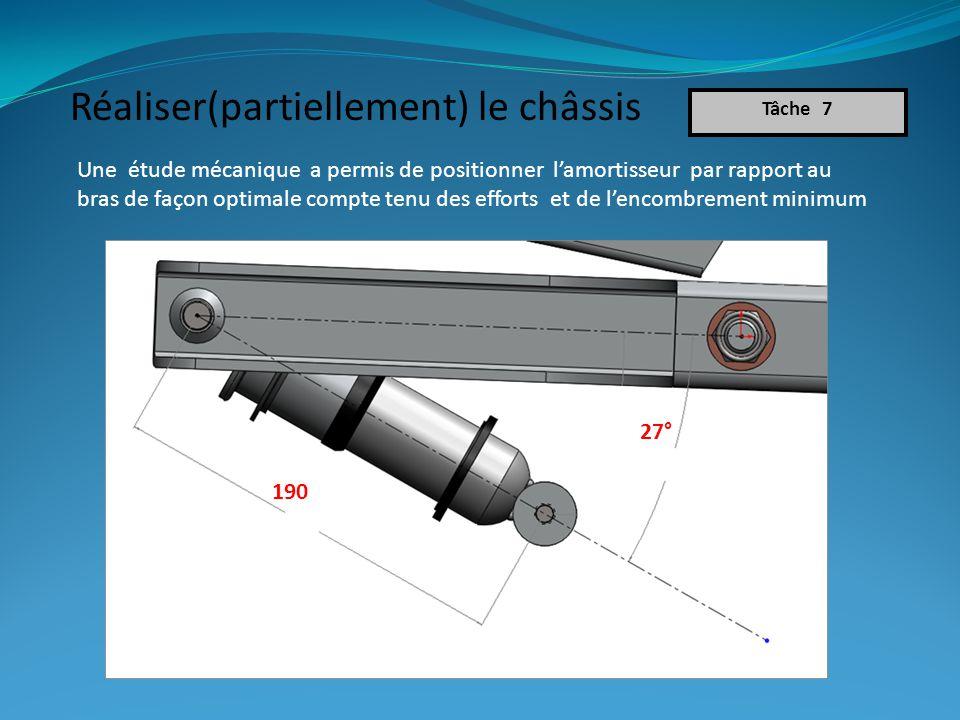 Une étude mécanique a permis de positionner lamortisseur par rapport au bras de façon optimale compte tenu des efforts et de lencombrement minimum Tâche 7 27° 190 Réaliser(partiellement) le châssis