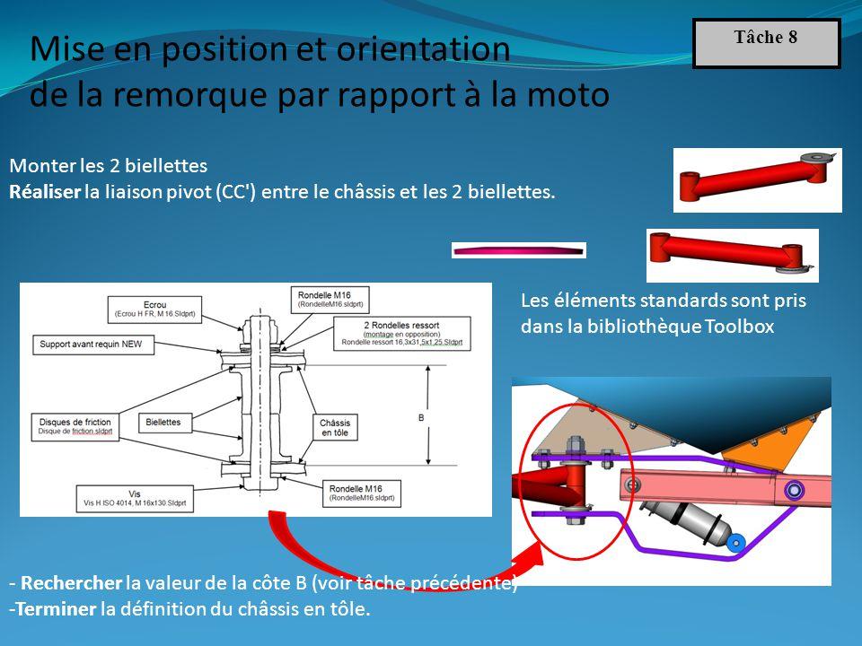 Les éléments standards sont pris dans la bibliothèque Toolbox Monter les 2 biellettes Réaliser la liaison pivot (CC ) entre le châssis et les 2 biellettes.