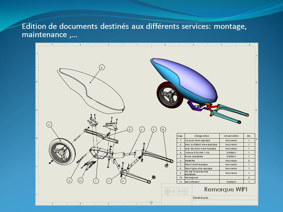 Edition de documents destinés aux différents services: montage, maintenance,…