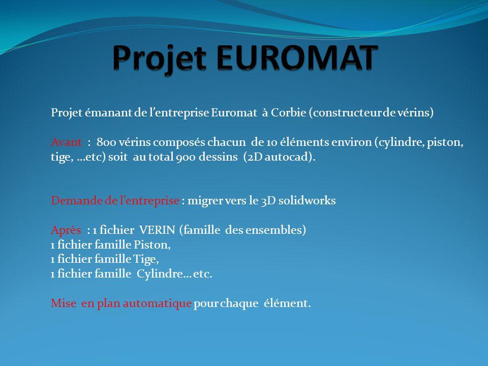 Projet émanant de lentreprise Euromat à Corbie (constructeur de vérins) Avant : 800 vérins composés chacun de 10 éléments environ (cylindre, piston, t