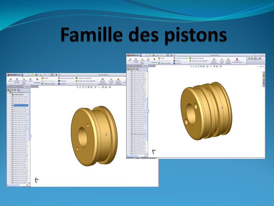 Tableau EXCEL : famille des pistons : 80 modèles différents Mise en plan automatique (Vues, coupes, cartouche…etc)