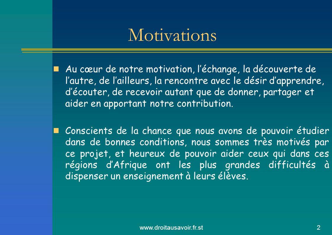 www.droitausavoir.fr.st2 Motivations Au cœur de notre motivation, léchange, la découverte de lautre, de lailleurs, la rencontre avec le désir dapprendre, découter, de recevoir autant que de donner, partager et aider en apportant notre contribution.