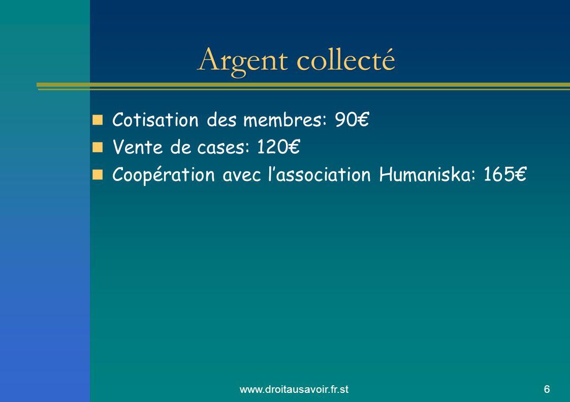 www.droitausavoir.fr.st6 Cotisation des membres: 90 Vente de cases: 120 Coopération avec lassociation Humaniska: 165 Argent collecté