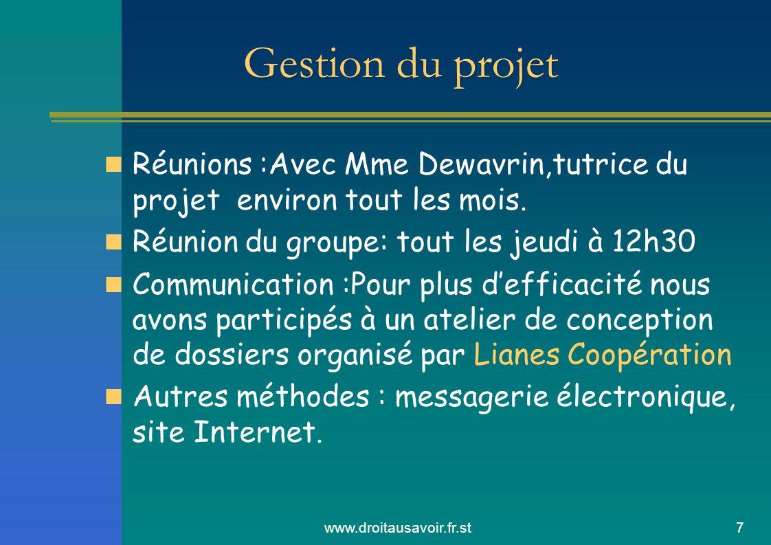 www.droitausavoir.fr.st7 Gestion du projet Réunions :Avec Mme Dewavrin,tutrice du projet environ tout les mois.