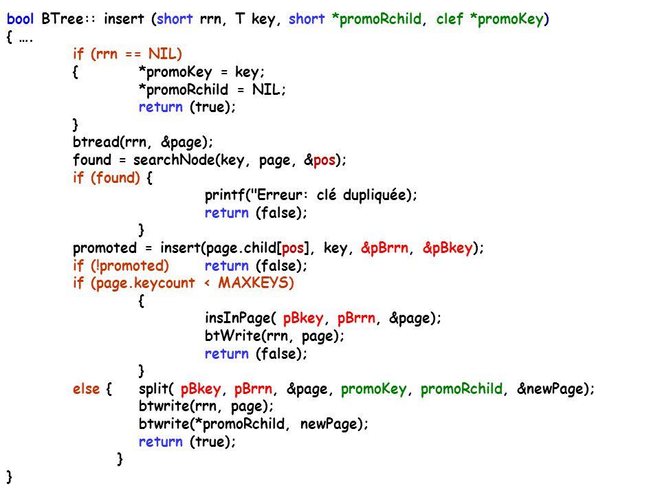 /***** insert.cpp **** Contient la méthode insert() qui insère une clef dans un arbre-B. S'appelle de manière récursive tant que le bas de l'arbre n'e