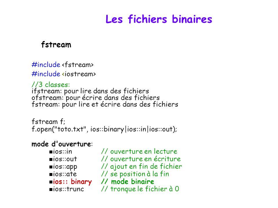 Les fichiers binaires Principe - un fichier est une séquence d'octets non interprétés Interprétation des données binaires - à la charge du programmeur